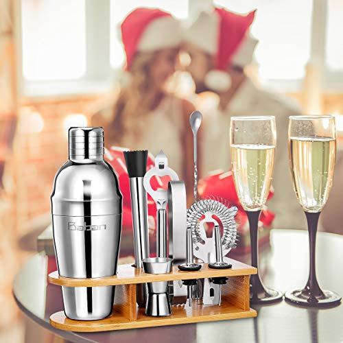 Baban set cocktail 10 pezzi,kit barman,Shaker per Cocktail 750ML set cocktail professionale,Compreso Squisita cornice in legno;Shaker per Cocktail;completo Set di Regalo 8