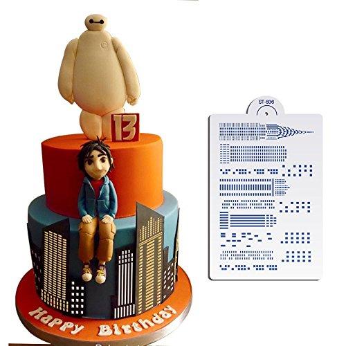 AK Art kitchenware, Skyscraper design stencil cake, cake Stencil laterale, cake Decorating tools, Cookie stencil per pittura st-836
