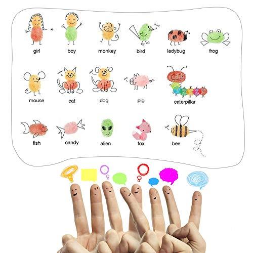 iwobi 15 Colori Tamponi per Timbri Bambini,Tampone di Inchiostro per Carta Artigianale Tessuto,DIY Artistica,Scrapbook,Impronte Digitali 6