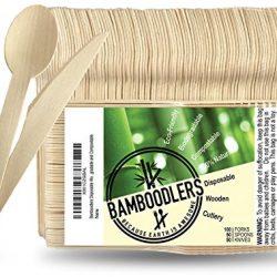 BAMBOODLERS Set di Posate in Legno Usa e Getta   100% Naturale, Ecologico, Biodegradabile e Compostabile – Perché la Terra è fantastica! Confezione da 200 (100 forchette, 50 cucchiai, 50 coltelli)