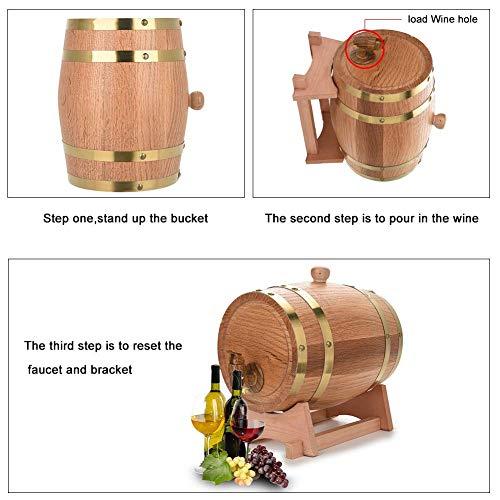 GOTOTO 10L Botte Vino Legno Rovere, Botte di Vino Dispenser, Botte da Vino in Legno, Wine Barrel per la conservazione di Vini pregiati, Brandy, Whisky e Tequila 9