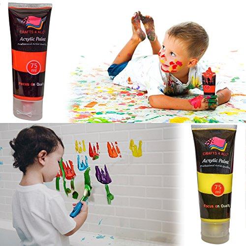Crafts 4 All – Pittura acrilica professionale, set da colori acrilici XL (75 ml), kit per pittura su tela, legno, argilla, tessuto, unghie, ceramica e artigianato. Per studenti e professionisti 9