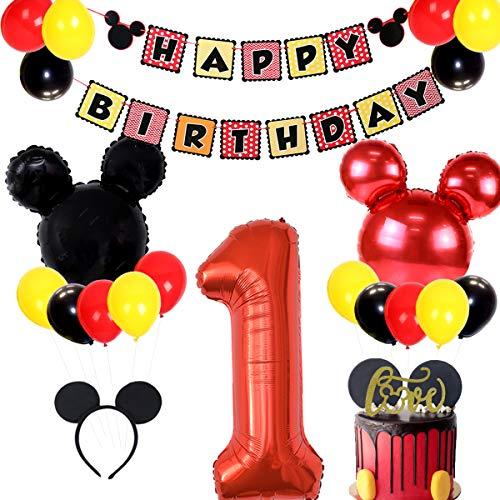 JOYMEMO Forniture per Feste di Compleanno di Topolino includono Banner, Palloncini con Foglio 1 e cerchietti per Orecchie 2