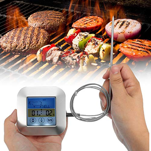 BESTONZON Color Screen Digital Food Thermometer Grill Oven Smoker Thermometer with Probe for Kitchen Cafe Restaurant Bar 6