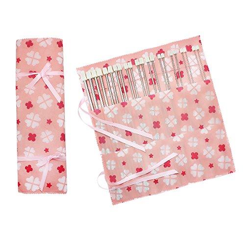 Hysagtek – Set di 22 ferri da maglia a punta singola, in acciaio INOX, con custodia, dimensioni assortite da 2,0 a 8,0 mm (11 paia, 11 misure) 5