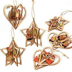 3D Decorazione albero di Natale Cubewit 6er. Ornamenti di albero di Natale  Pendenti in legno Handmade Natale Babbo Natale Albero di Natale Sled Snowman