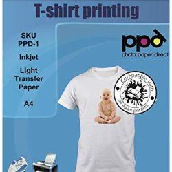 PPD A4 Carta Trasferibile Termoadesiva Per Stampanti A Getto D'Inchiostro Inkjet – T-Shirt E Tessuti Di Colore Chiaro x 5 Fogli – PPD-1-5