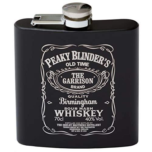 Fiaschetta di Peaky Blinders stile Jack Daniel's da 170 ml in acciaio inox nero perfetta per addio al celibato, feste e matrimoni, progettata e incisa nel Regno Unito 2