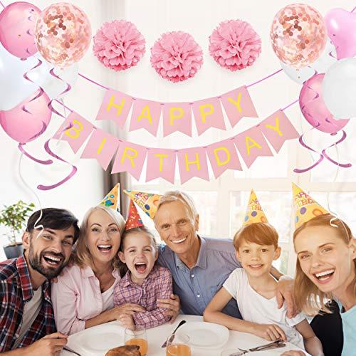 Decorazioni per Feste di Compleanno Bambina – 43 Pz – Include Striscione Happy Birthday, Pompon di Carta, Palloncini, Palloncini a Coriandoli, Decorazioni a Spirale – Set Rosa e Bianco per Bimba 7
