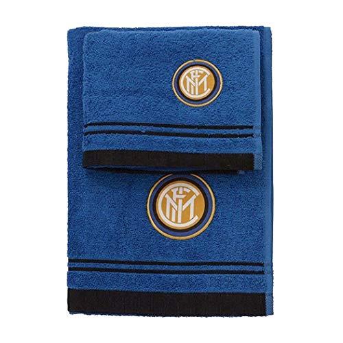 Inter Set Asciugamano e Ospite in Spugna, 100% Cotone, Nero/Azzurro, 100x60x1 cm
