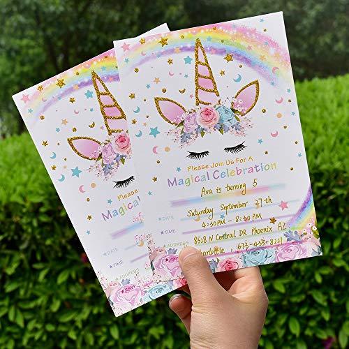 AMZTM Inviti con Buste per la Festa di Compleanno Bambini Baby Shower Tema Unicorno Arcobaleno Decorazioni Accessori Pet Festa delle Ragazze Set di 20 3
