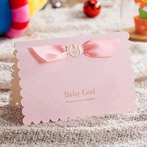 WISHMADE 20x kit di inviti rosa con orsetto e car design per bambine compleanno baby shower con carta stampabile e buste