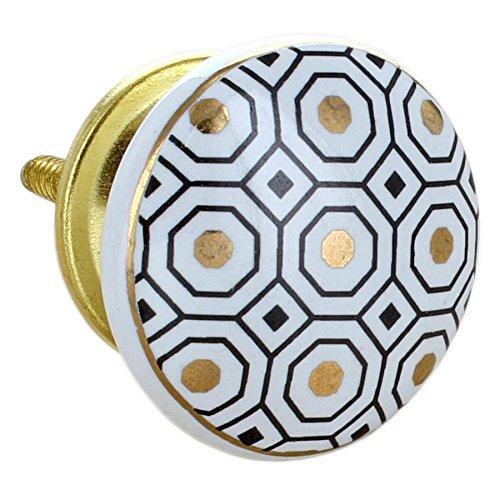 G Decor, set di 8 pomelli rotondi in ceramica, di colore dorato, con finitura screpolata, stile vintage e shabby chic, adatti come maniglie per cassetti 3