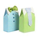 LinTimes 50 Pezzi My Little Man Scatole bomboniere Ragazzo Baby Shower Scatole bomboniere con Fiocco Verde Blu Nastro di Carta Sacchetti di Caramelle per Percalle Decorazioni per Feste Forniture