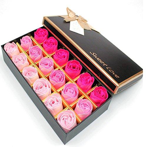 XLKJ 18 Pezzi Fiore del Sapone,Profumato Fiori del Sapone Rose Creativo Regalo per la Festa di Compleanno San Valentino Rosa