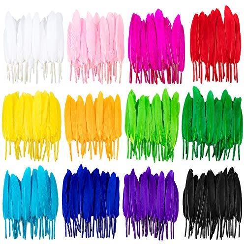 Whaline, 360 piume colorate, 12 colori, piume d'oca per orecchini fai da te, artigianato, casa, matrimoni, feste premaman, decorazioni (10 – 15,2 cm)
