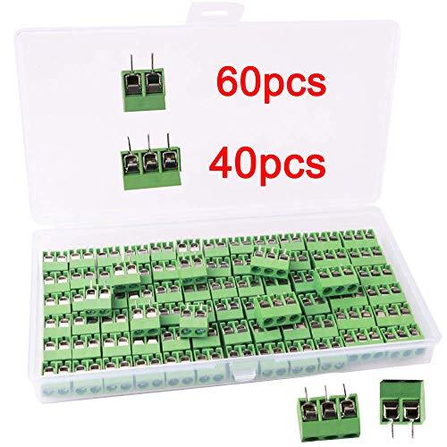 RUNCCI 100 Pezzi 5mm 2 Pin / 3 Pin Morsettiera a Vite PCB Blu per Prototipo PCB Scheda Circuito Stampato (60pz 2 Pin, 40pz 3 Pin)