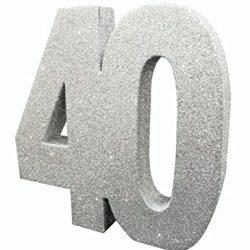 Centrotavola argentato con brillantini 40 anni Taglia Unica 2