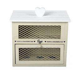 """Casetta in legno portauova color crema in stile """"chic n shabby"""" con cuori, per organizzazione cucina 2"""
