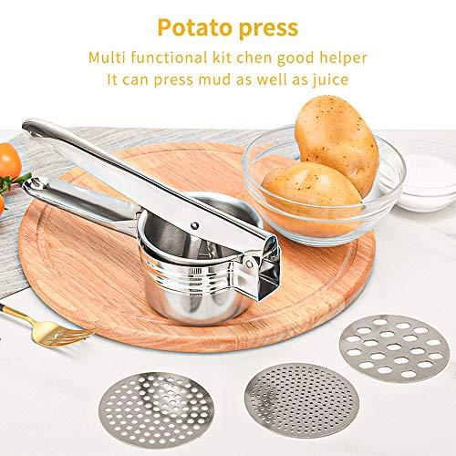Schiacciapatate Manuale Potato Ricer in Acciaio Inox Pressa per Purè di Patate Liscie con 3 colini sostituibili per Marmellata, Verdure E Frutta 3