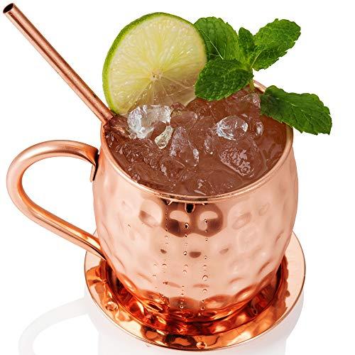 Bicchiere di Rame Moscow Mule – Fatto a Mano in Rame Puro al 100% – Bicchiere da 500 Grammi a Forma di barile con Effetto martellato in Confezione Regalo 8