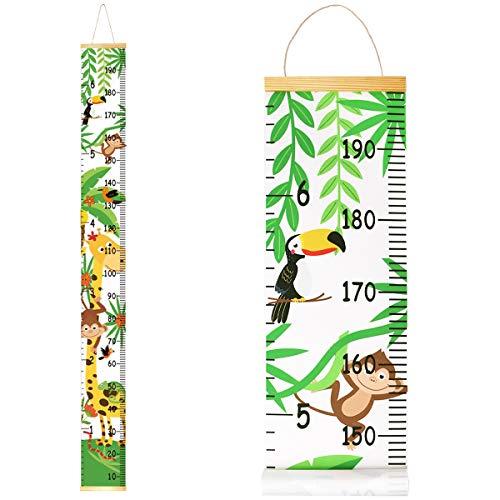 Metro per misurare l'altezza della parete per bambini, in legno, 20 x 200 cm, misura dell'altezza della tela per decorazione da parete con animali della foresta rimovibile,