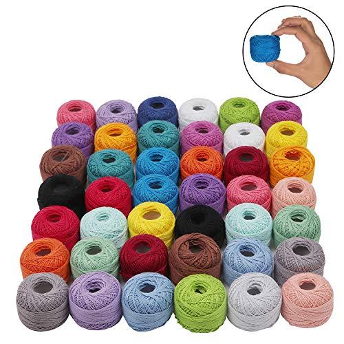 Cotone Uncinetto – 42 Filati Cotone Assortimento Colori – Cotone per Uncinetto – Filo per Cotone – Filo Cotone per Applique Progetti – Cotone Filato – Numero 5 Filo Gomitoli (74 m 5g) 2