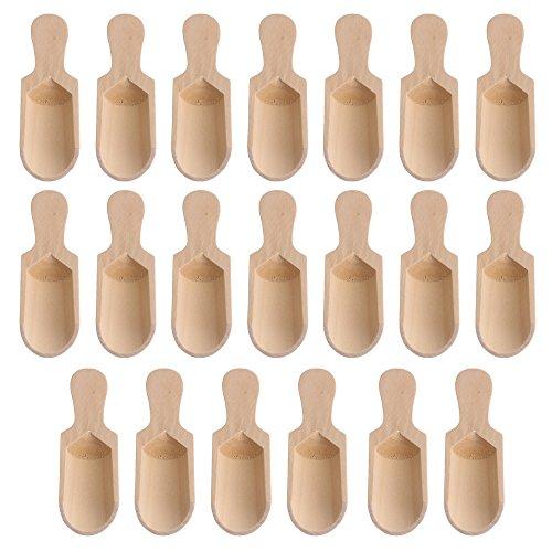 Yibuy 20pezzi 7.3x 2.4cm color legno naturale in legno sale spezie cucchiaini