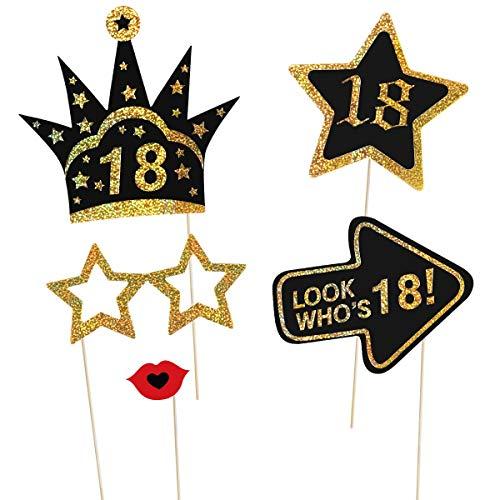 Amosfun 29 Pz 18 ° Compleanno Puntelli Foto Glitter Puntelli di Compleanno Accessori per Feste per La Decorazione della Festa di Compleanno Favori Forniture 6