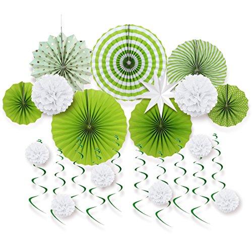 Easy Joy Decorazione Verde con Stellina Bianca, Ventaglio di Carta per Festa, Matrimonio, Compleanno, Anniversaio, Verde e Bianco