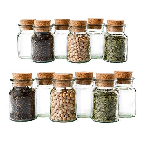 MamboCat set barattolini per spezie da 12 pezzi | Capacità: 150ML | barattoli in vetro riutilizzabili + tappo in sughero | vetro rotondo di alta qualità | per conservare tè, erbe e spezie
