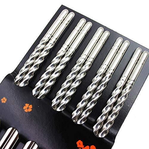 Bacchette, Chantwon 5 paia 10 pezzi Bacchette in Acciaio inox Lavabili per Piatti di Sushi o Riso, Riutilizzabili 3