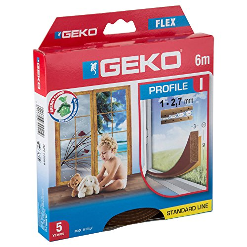 """Geko 940009 – Isolante per porte e finestre""""I-Profil"""" autoadesivo, ritagliabile, lunghezza 6 m, 9 x 3 mm, durata 5 anni, colore: marrone"""