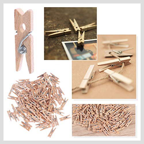Pixnor Mollette legno con primavera, 100-Pack, 0,98-pollici di lunghezza 4
