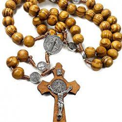 Rosario di San Benedetto in legno d'ulivo, rosario cattolico con medaglia, fatto a mano da Gerusalemme