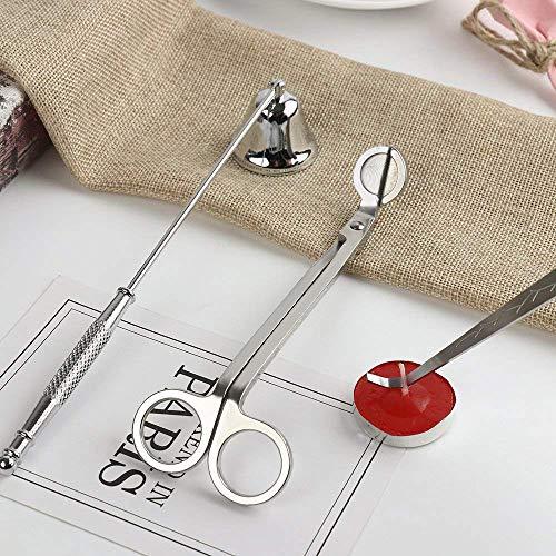 Stoppino trimmer,Wick Dipper e Bell Snuffer candela Care Kit accessori candela di utensili in acciaio inox,spegni candele
