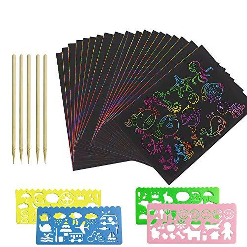 INHEMI Fogli di Disegni Scratch Art,50 Fogli Arcobaleno da Grattare, Set Artistico,Colorato da Scarabocchiare con 4 Modelli di Disegno su Righelli Forati con Stampe e 5 Puntine in Legno per Disegnare