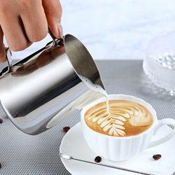 KimKing 350ml Bricco da latte Lattiera per cappuccino in Acciaio Inox Caffè Latte Art Bilance di misurazione di due lati 2