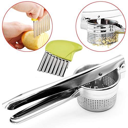 T&B – Schiacciapatate di alta qualità, perfetto per schiacciare e tagliare patate, realizzato in acciaio inossidabile di altissima qualità 3