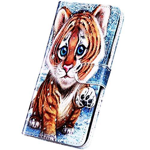 Surakey Cover Compatibile con Samsung Galaxy A7 2018/A750 Custodia Flip PU Pelle Elegante Motivo Case con Elementi a Marmo Supporto Porte Carte Anti-Scratch Portafoglio Custodia,Tigre