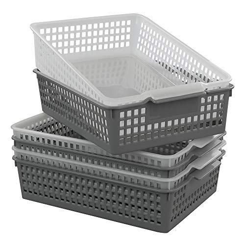 Dynko A4 Cestini Plastica Rettangolari Set di 6, Trasparente e Grigio, Cestino in Plastica 2