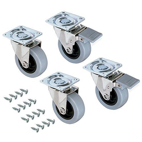 Emuca – Set di 4 rotelle pivotanti per mobile Ø75mm con piastra di assemblaggio e cuscinetti a sfere, ruote girevoli in gomma colore grigio