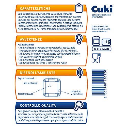 Cuki Contenitori in Carta Forno antiaderenti Carrè  – 18,4 x 18,4 x h1,8 cm – 3 pz 4