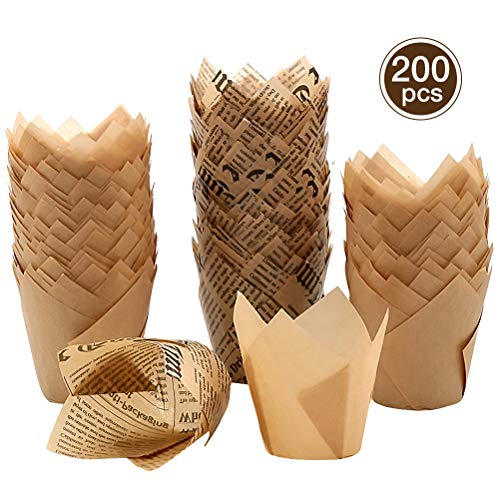 Tulip Muffin – Pirottini di carta per cupcake, 200 pezzi