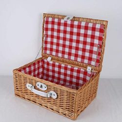 Picnic basket with plaid outdoor food storage basket picnic storage basket 2