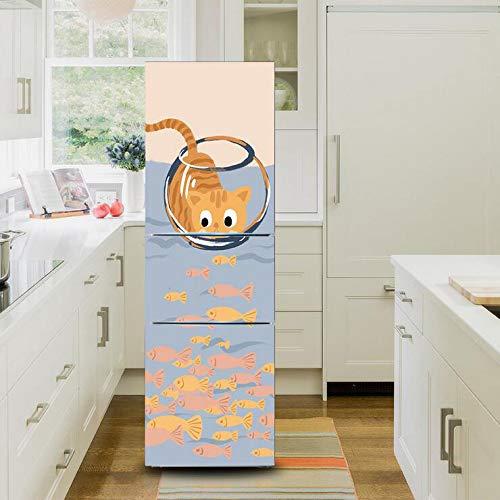 """Impermeabile Removibile Adesivo Frigorifero Carino Kitten Fishing Armadio Cover Creativo Ristrutturato Autoadesiva Congelatore da Cucina Decorativo,60x150cm(23.6""""x59"""")"""