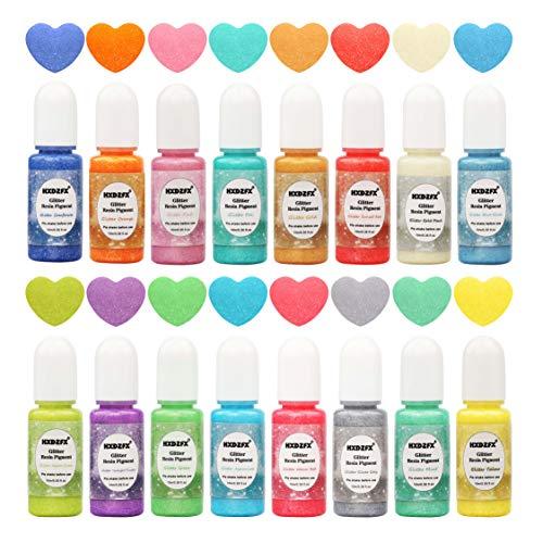 Coloranti per Resina Epossidica – 16 colori Liquido glitterato Perla colorante a pigmenti 0,35 oz / 10 ml, Colorante luccicante di resina liquida colorante per gioielli in resina Artigianato Fai da te 3