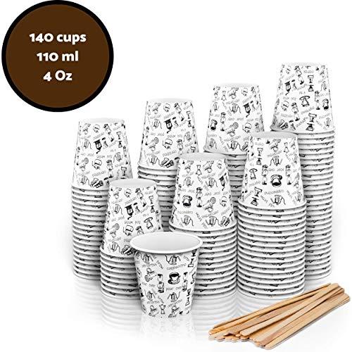 140 Bicchieri Carta Espresso To Go 110 ml Con Bastoncini Per Mescolare In Legno Per Caffè Da Portar Via