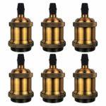 DiCUNO E27 Vintage Portalampada, Edison retro lampada a sospensione, Adattatore in ceramica solida, 6 Pezzi di ottone vintage socket