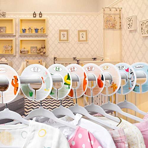 Divisori per vestiti per guardaroba per bambini, set di 8 Nursery Divisori per vestiti per guardaroba per bambini, Divisori per neonati Accessori per taglie Organizer Divisori Ragazza – Animali 8